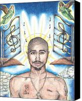 Hip-hop Canvas Prints - Tupac in Heaven Canvas Print by Debbie DeWitt