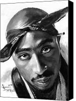 Hip-hop Canvas Prints - Tupac Shakur Canvas Print by Ylli Haruni