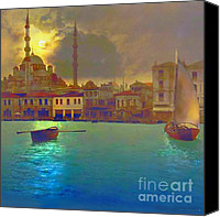 Turkey Painting Canvas Prints - Turkish  Moonlight Canvas Print by Seema Sayyidah