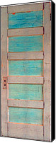 Door Sculpture Canvas Prints - Turquoise Doorway and Ladder to the Sky Canvas Print by Asha Carolyn Young