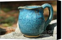 Jar Ceramics Canvas Prints - Turquoise Handmade Pitcher Canvas Print by Amie Turrill Owens