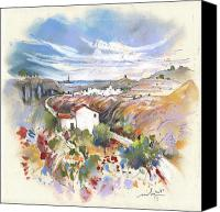 Almeria Travel Sketch Drawings Canvas Prints - Turre in Spain 02 Canvas Print by Miki De Goodaboom