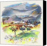 Almeria Travel Sketch Drawings Canvas Prints - Turre in Spain 03 Canvas Print by Miki De Goodaboom