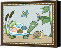 Crib Painting Canvas Prints - Turtle and Bugs Canvas Print by Cheryl Lubben