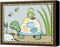 Crib Painting Canvas Prints - Turtle and Frog Canvas Print by Cheryl Lubben