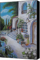 Melinda Saminski Canvas Prints - Tuscan Courtyard Canvas Print by Melinda Saminski