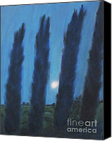 Moonlight Pastels Canvas Prints - Tuscan Cyprus Trees Canvas Print by Julie Brugh Riffey