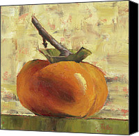 Fruit Canvas Prints - Tuscan Persimmon Canvas Print by Pam Talley