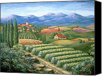Wine Art Canvas Prints - Tuscan Vineyard and Village  Canvas Print by Marilyn Dunlap