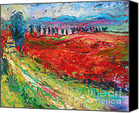 Poppy Drawings Canvas Prints - Tuscany italy landscape poppy field Canvas Print by Svetlana Novikova
