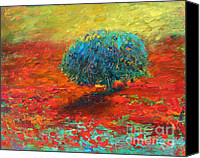 Poppy Drawings Canvas Prints - Tuscany poppy field tree landscape Canvas Print by Svetlana Novikova