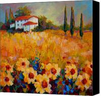 Spring Painting Canvas Prints - Tuscany Sunflowers Canvas Print by Marion Rose