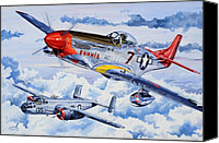Air Plane Drawings Canvas Prints - Tuskegee Airman Canvas Print by Charles Taylor