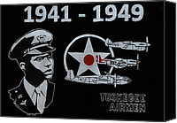 Red Glass Art Canvas Prints - Tuskegee Airmen Canvas Print by Jim Ross