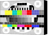 Television Canvas Prints - TV multicolor signal test pattern Canvas Print by Aloysius Patrimonio