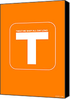 Harvard Canvas Prints - Tweet me baby all night long Orange Poster Canvas Print by Irina  March