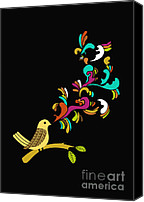 Black Digital Art Canvas Prints - Tweet tweet Canvas Print by Budi Satria Kwan