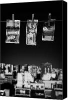 Twenties Photo Canvas Prints - Twenty Pounds Dollars Euro Banknotes Hanging On A Washing Line With Blue Sky Over City Skyline Canvas Print by Joe Fox