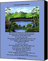 Inspirational Saying Canvas Prints - Twenty-Third Psalm with Twin Ponds Blue Canvas Print by Barbara Griffin