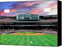Boston Red Sox Canvas Prints - Twilight at Fenway Park Canvas Print by Jack Skinner