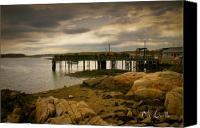 Bathroom Canvas Prints - Twilight Cape Porpoise Maine Canvas Print by Bob Orsillo