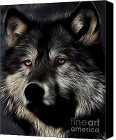 Vampires Canvas Prints - Twilight Eyes of The Lone Wolf Canvas Print by Wingsdomain Art and Photography
