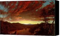 Setting Painting Canvas Prints - Twilight in the Wilderness Canvas Print by Frederic Edwin Church