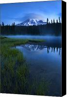 Mt. Rainier Canvas Prints - Twilight Mist Rising Canvas Print by Mike  Dawson