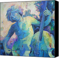 Musical Notes Canvas Prints - Twilight Rhapsody - Lady Playing the Cello Canvas Print by Susanne Clark