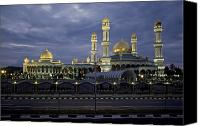 Religious Structures Canvas Prints - Twilight View Of An Illuminated Mosque Canvas Print by Paul Chesley