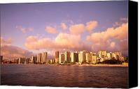 Waikiki Canvas Prints - Twilight Waikiki Canvas Print by Peter French - Printscapes