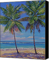 Cuba Painting Canvas Prints - Twin Palms Canvas Print by John Clark