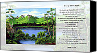 Inspirational Saying Canvas Prints - Twin Ponds and 23 Psalm on White Canvas Print by Barbara Griffin