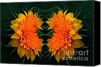 Teddybear Canvas Prints - Twin Teddybear Sunflowers Canvas Print by Marjorie Imbeau