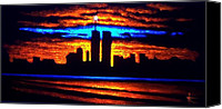 Skylines Painting Canvas Prints - Twin Towers In Black Light Canvas Print by Thomas Kolendra