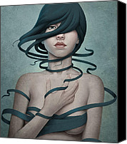 Woman Digital Art Canvas Prints - Twisted Canvas Print by Diego Fernandez