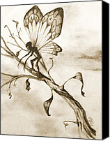 Creepy Drawings Canvas Prints - Twisted- Sepia Canvas Print by Sara Coolidge