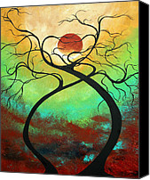 Lime Painting Canvas Prints - Twisting Love II Original Painting by MADART Canvas Print by Megan Duncanson