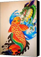 Koi Art Canvas Prints - Two at War Canvas Print by Sally Siko