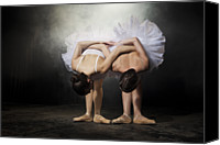 Color Stretching Canvas Prints - Two Ballerinas Stretching On Stage Canvas Print by Nisian Hughes