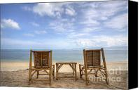 Tanning Canvas Prints - Two bamboo beach chair Canvas Print by Anek Suwannaphoom