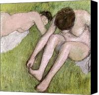 Two Pastels Canvas Prints - Two Bathers on the Grass Canvas Print by Edgar Degas