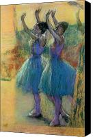 Pastel On Paper Canvas Prints - Two Blue Dancers Canvas Print by Edgar Degas