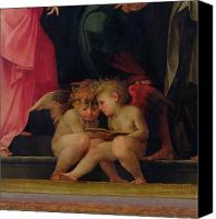 Putti Painting Canvas Prints - Two cherubs reading detail from Madonna and Child with Saints Canvas Print by Giovanni Battist Rosso Fiorentino