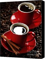 Brown Color Canvas Prints - Two Cups of Coffe on Coffee Beans Canvas Print by Oleksiy Maksymenko