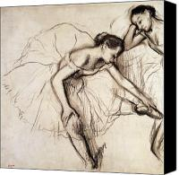 Drawing Canvas Prints - Two Dancers Resting Canvas Print by Edgar Degas