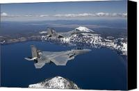 Aircraft Photo Canvas Prints - Two F-15 Eagles Fly Over Crater Lake Canvas Print by HIGH-G Productions