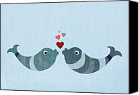 Kissing Canvas Prints - Two Fish Kissing Canvas Print by Jutta Kuss