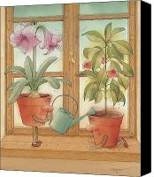 Kitchen Drawings Canvas Prints - Two Flowerpots Canvas Print by Kestutis Kasparavicius