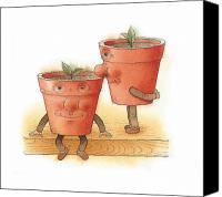 Kitchen Drawings Canvas Prints - Two Flowerpots02 Canvas Print by Kestutis Kasparavicius